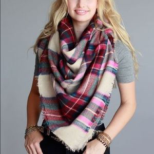 Accessories - Boho Plaid Blanket Scarf